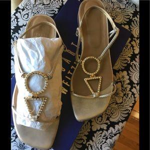 Stuart Weitzman Gotrocks Gold & Crystal Sandals